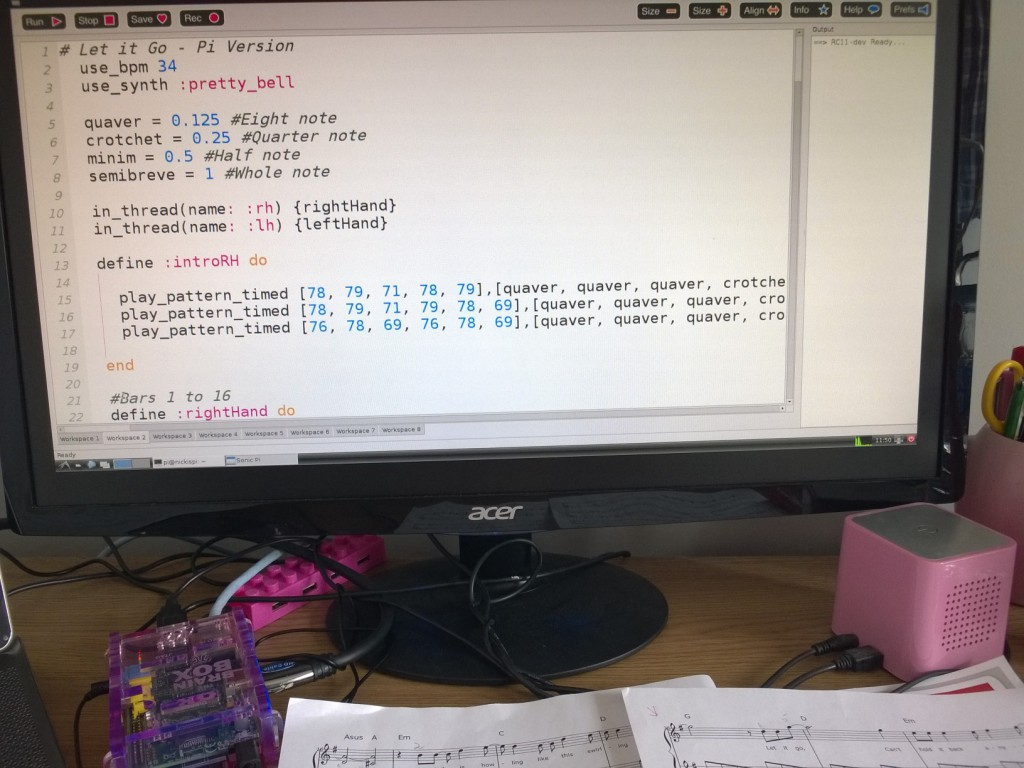 Sonic Pi Let it Go Frozen by Nicki Cooper