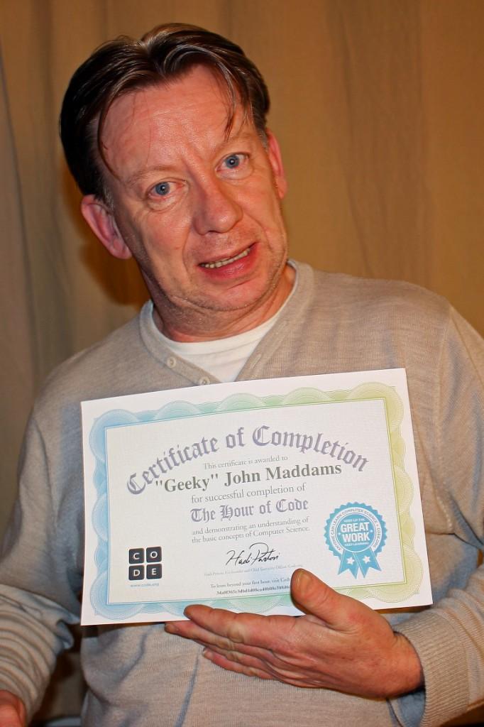 John Maddams completes Hour of Code